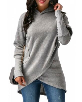 Womens Long Sleeve With Pocket Asymmetrical Hem Plain Hoodie Gray