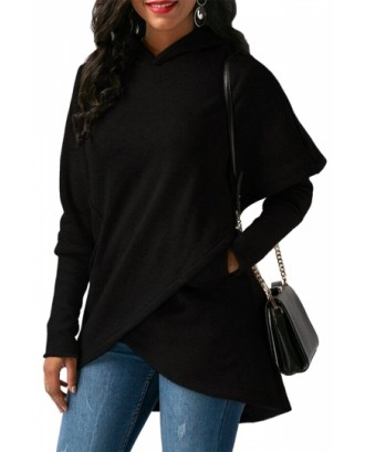 Womens Long Sleeve With Pocket Asymmetrical Hem Plain Hoodie Black