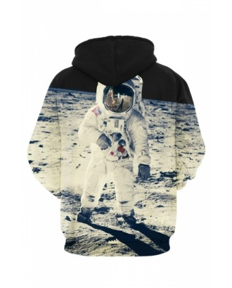 Womens Neil Armstrong on The Moon 3D Printed Pullover Hoodie Gray