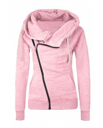 Womens Oblique Side Zipper Long Sleeve Plain Hoodie Pink