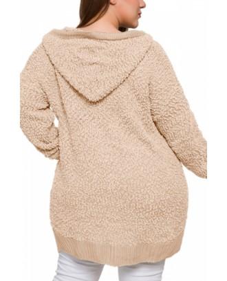 Plus Size Popcorn Knit Hoodie V Neck Khaki