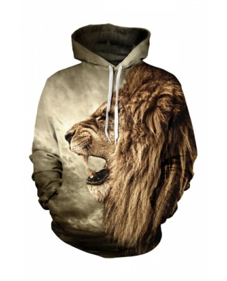 Womens Roaring Lion 3D Printed Pullover Hoodie Brown