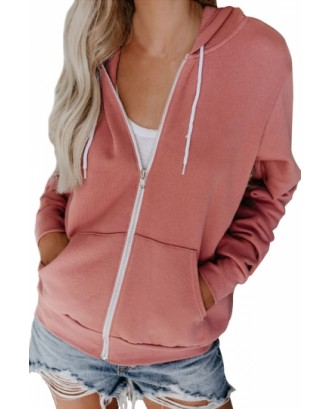 Plain Hoodie With Zipper Pink