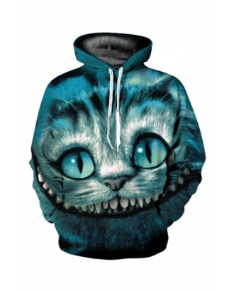 Womens Casual Long Sleeve Cheshire Cat Printed Hoodie Turquoise
