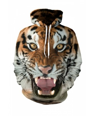 Womens Tiger 3D Printed Pullover Hoodie Yellow