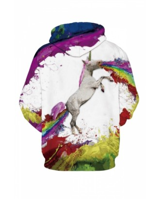Womens Unicorn 3D Printed Pullover Hoodie White