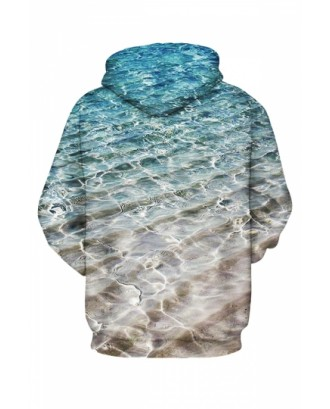 Womens Sea 3D Printed Pullover Hoodie Blue