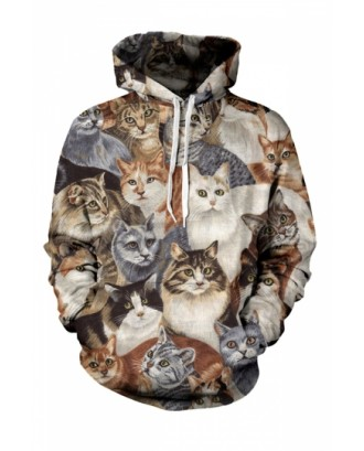 Womens Cats 3D Printed Pullover Hoodie Brown