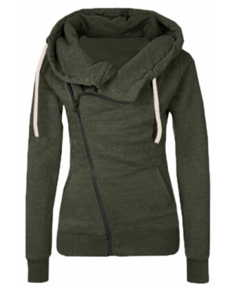 Womens Oblique Side Zipper Long Sleeve Plain Hoodie Army Green