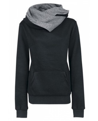 Womens Funnel Neck Kangaroo Pocket Pullover Hoodie Black