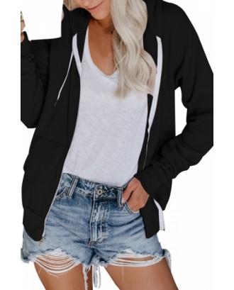 Long Sleeve Hoodie Drawstring Black