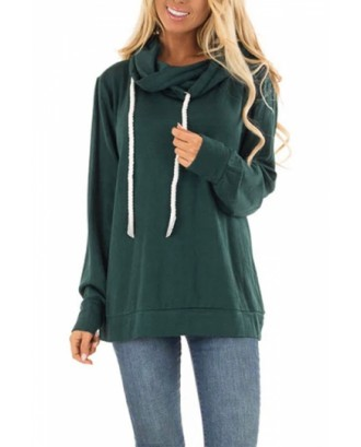 Oversized Hoodie Solid Color Green