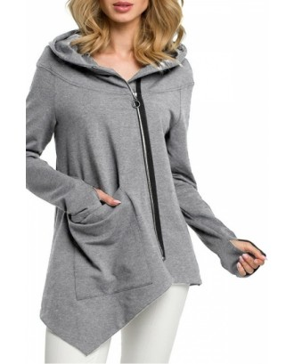 Plus Size O-Ring Zip Front Hoodie Light Grey