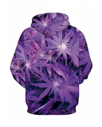 Womens Leaf Printed Long Sleeve Pocket Pullover Hoodie Purple