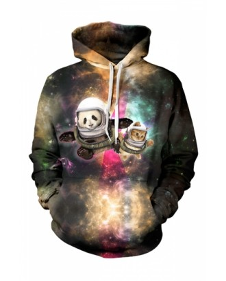 Womens Astronaut Pals 3D Printed Pullover Hoodie Brown