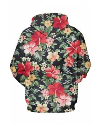 Womens Flower Printed Long Sleeve Pocket Pullover Hoodie Dark Green