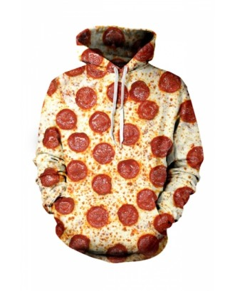 Womens Pepperoni Pizza 3D Printed Pullover Hoodie