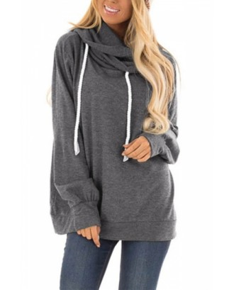 Long Sleeve Hoodie With Drawstring Gray