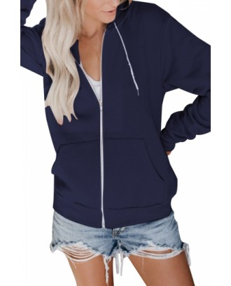 Drawstring Hoodie Full Zip Navy Blue