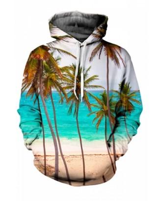 Womens Casual Beach 3D Printed Pullover Hoodie Blue
