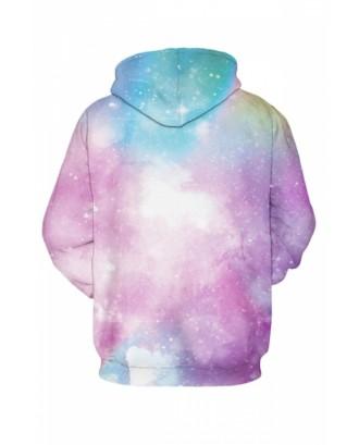Womens Galaxy 3D Printed Pullover Hoodie Pink