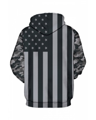 Womens Camo Stars Striped Long Sleeve Pocket Pullover Hoodie Gray