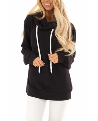Tunic Hoodie With Cowl Neck Black