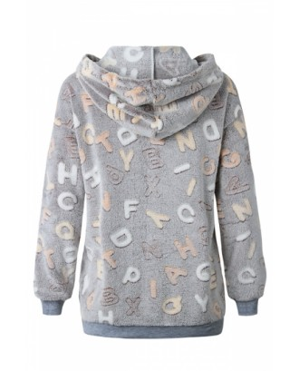 Fashion Long Sleeve Letter Print Fluffy Loose Hoodie Coffee