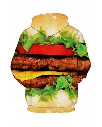 Womens Hamburger Printed Zip Up Fleece Drawstring Hoodie Green