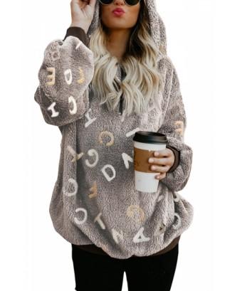 Letter Print Zipper Fuzzy Hoodie Coffee