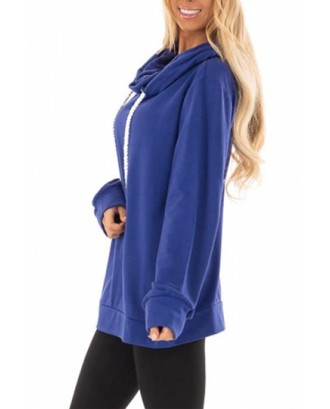 Cowl Neck Pullover Hoodie Blue