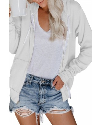 Zip Up Hoodie With Pocket White