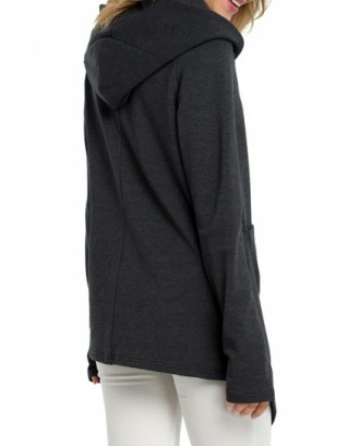 Plus Size Asymmetrical Hoodie With Pocket Dark Grey