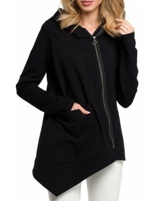 Plus Size Full Zip Hoodie Irregular Hem Black