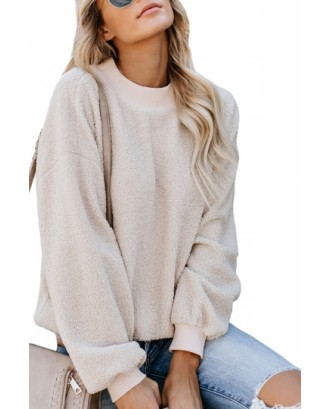 Crew Neck Sweatshirt Long Sleeve Beige White
