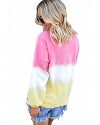 Plus Size Long Sleeve Ombre Sweatshirt Pink