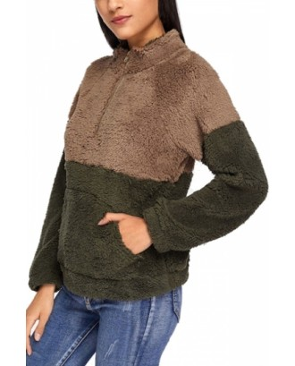 Fluffy Contrast Panel Sweatshirt Coffee
