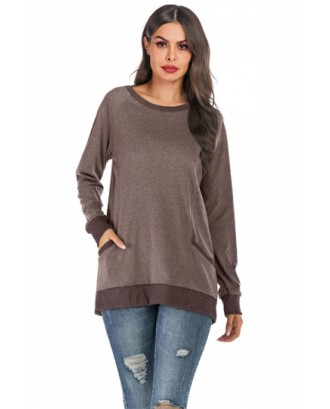 Crew Neck Pocket Tunic Sweatshirt Coffee
