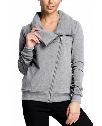 Plus Size Oblique Zipper Sweatshirt Light Gray