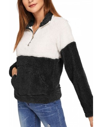 Color Block Sweatshirt Kangaroo Pocket