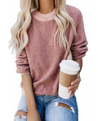 Plain Fuzzy Sweatshirt Drop Shoulder Pink