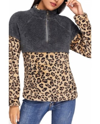 Leopard Print Sweatshirt Long Sleeve Brown