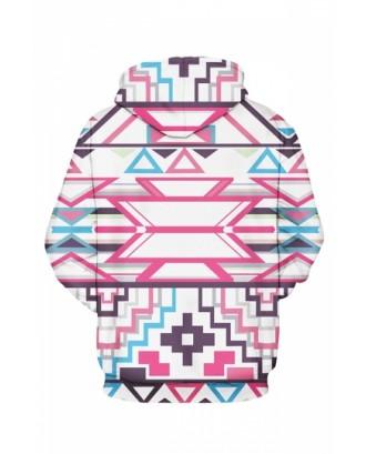 Womens Pink Aztec Printed Pullover Hoodie Rose Pink