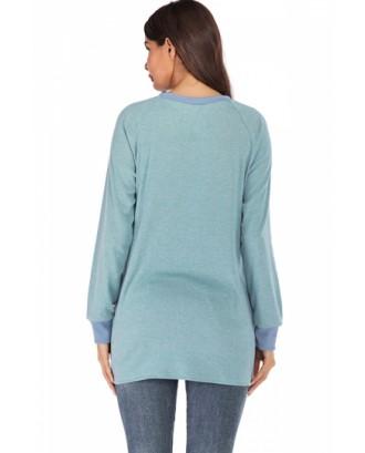 Contrast Long Sleeve Sweatshirt Turquoise