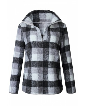 Zipper High Collar Long Sleeve Plaid Fuzzy Sweatshirt Gray