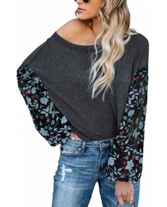 Crew Neck Sweatshirt Floral Print Dark Green