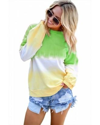 Plus Size Ombre Casual Sweatshirt Green