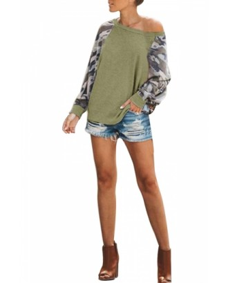 Camo Print Sweatshirt Long Sleeve Olive