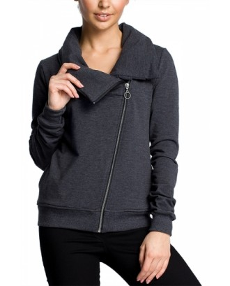 Plus Size Funnel Neck Sweatshirt Zip Up Dark Green