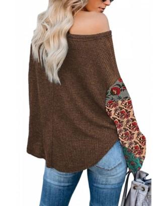 Lantern Sleeve Sweatshirt Floral Print Brown